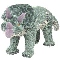 vidaXL Stojaca plyšová hračka dinosaurus Triceratops zelený XXL