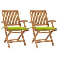 vidaXL Záhradné stoličky 2 ks bledozelené podložky teakový masív