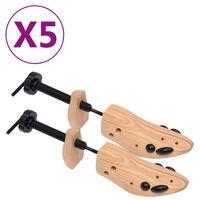 vidaXL Napínače do topánok, 5 párov, veľkosť 41-46, borovicový masív
