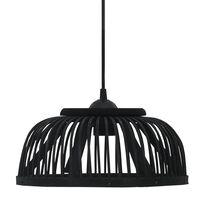 vidaXL Závesná lampa, čierna, bambus 40 W, 34x14,5 cm, polkruhová E27