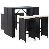 vidaXL 5-dielna vonkajšia barová súprava, polyratan a sklo, čierna