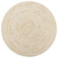 vidaXL Ručne vyrobený jutový koberec biely a prírodný 120 cm
