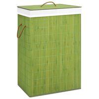 vidaXL Bambusový kôš na bielizeň, zelený