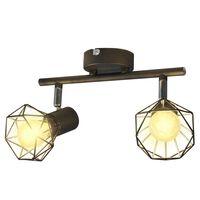 Čierne svietidlo - 2 LED žiarovky, drôtené tienidlo, industriálny štýl