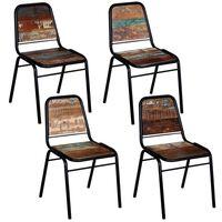 vidaXL Jedálenské stoličky 4 ks, recyklovaný masív