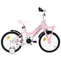 vidaXL Detský bicykel s predným nosičom 16 palcový biely a ružový