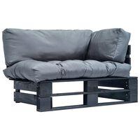 vidaXL Záhradná sedačka z paliet so sivými podložkami, borovica