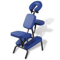 vidaXL Skladacia a prenosná masážna stolička, modrá
