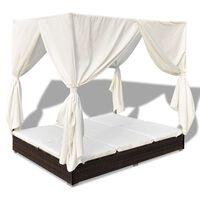 vidaXL Záhradná posteľ so závesmi, polyratan, hnedá