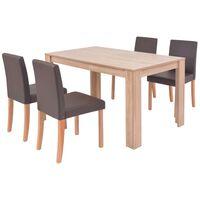 vidaXL Jedálenský stôl a stoličky, 5 ks, umelá koža, dubové drevo, hnedé