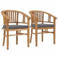 vidaXL Záhradné stoličky s podložkami 2 ks teakový masív