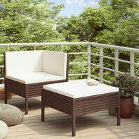 vidaXL 2-dielna záhradná sedacia súprava s vankúšmi polyratan hnedá