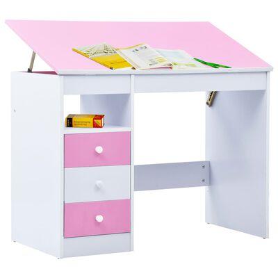 vidaXL Detský stôl na kreslenie sklápací ružový a biely