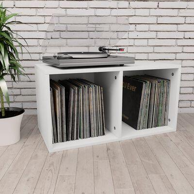 vidaXL Box na vinylové platne biely 71x34x36 cm drevotrieska