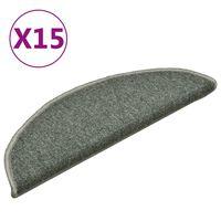 vidaXL Kobercové nášľapy na schody 15 ks tmavozelené 56x17x3 cm