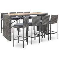 vidaXL 9-dielna vonkajšia barová súprava sivá polyratan a akáciové drevo