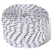 vidaXL Spletané lodné lano biele 8 mm 500 m polyester