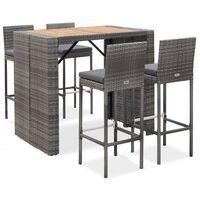 vidaXL 5-dielna vonkajšia barová súprava sivá polyratan a akáciové drevo