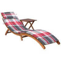 vidaXL Záhradné ležadlo so stolíkom a podložkou akáciový masív