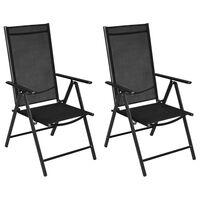 vidaXL Skladacie záhradné stoličky 2 ks, hliník a textilén, čierne