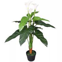 vidaXL Umelá rastlina, kala s kvetináčom 85 cm, biela