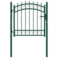 vidaXL Plotová brána s hrotmi oceľová 100x100 cm zelená
