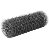 vidaXL Drôtené pletivo, oceľ potiahnutá PVC 25x0,5 m, sivé