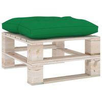 vidaXL Záhradná taburetka z paliet, zelená podložka, borovica