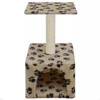 vidaXL Škrabadlo pre mačky so sisalovými stĺpikmi 55cm, béžové s labkami