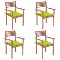 vidaXL Záhradné stoličky 4 ks bledozelené podložky teakový masív