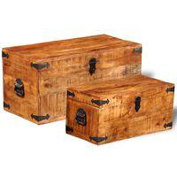 vidaXL Súprava skladovacích truhlíc, 2 kusy, surové mangové drevo