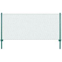 vidaXL Drôtené pletivo so stĺpikmi zelené 25x0,5 m oceľové