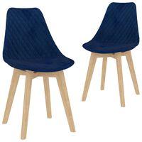 vidaXL Jedálenské stoličky 2 ks, modré, zamat