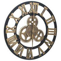 vidaXL Nástenné hodiny zlaté a čierne 45 cm MDF