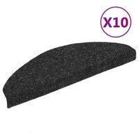 vidaXL Samolepiace nášľapy na schody 10 ks čierne 65x21x4 cm vpichovaná textília