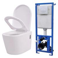 vidaXL Keramické závesné WC so skrytou nádržou, biele