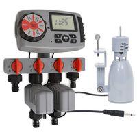 vidaXL Automatický časovač zavlažovania so 4 stanicami a dažďovým senzorom 3 V
