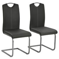 vidaXL Jedálenské stoličky, perová kostra 2 ks, sivé, umelá koža