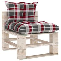 vidaXL Garden Pallet Middle Sofa with Cushions Pinewood (315823+314616)