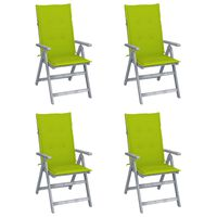 vidaXL Záhradné sklápacie stoličky 4 ks s podložkami akáciový masív