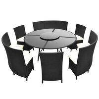 vidaXL 7-dielna vonkajšia jedálenská súprava s vankúšmi polyratan čierna