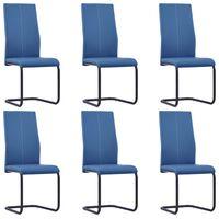 vidaXL Jedálenské stoličky, perová kostra 6 ks, modré, umelá koža