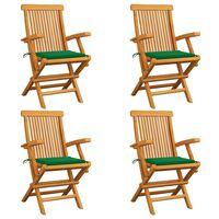 vidaXL Záhradné stoličky, zelené podložky 4 ks, tíkový masív