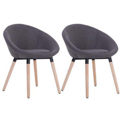 vidaXL Jedálenské stoličky 2 ks tmavosivé látkové