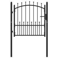 vidaXL Plotová brána s hrotmi oceľová 100x100 cm čierna