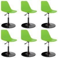 vidaXL Otočné jedálenské stoličky 6 ks, zelené, PP
