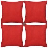 4 Návliečky na vankúše, bavlna, červené, 40 x 40 cm
