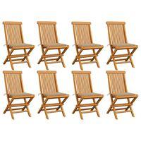 vidaXL Záhradné stoličky s béžovými podložkami 8 ks tíkový masív