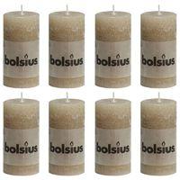 Bolsius Rustikálne valcové sviečky 8 ks 100x50 mm, pastelovo béžové