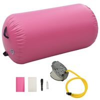 vidaXL Nafukovací gymnastický valec s pumpou 120x90 cm PVC ružový